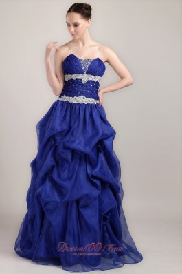 Tie Back Royal Applique Beaded Prom Gown Pick-ups