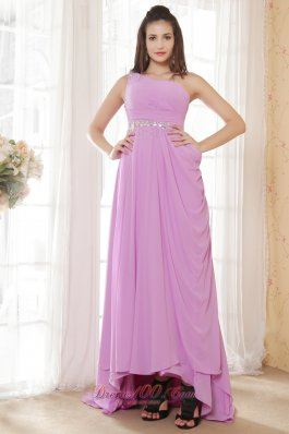 High-low One Shoulder Lavender Drapped Prom Gown Dress
