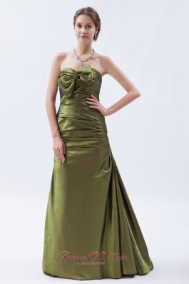 Bowknot Decorate Ruched A-line Taffeta Bridesmaid Dress