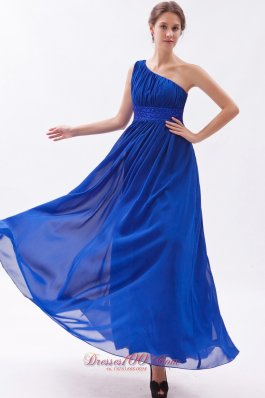 Ankle Length One Shouldre Royal Beaded Prom Dress