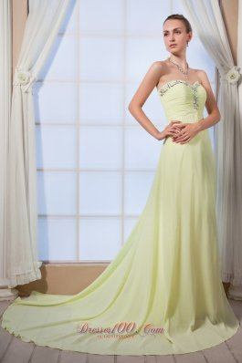 Brush Train Yellow Green Beaded Dress for Prom