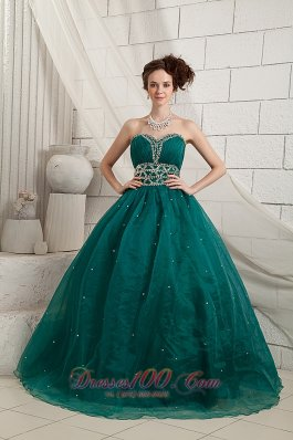 Bubbled Green Beads Decorate Organza Quinceanera dress