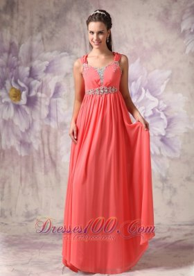 Cross Straps Beaded Watermelon Prom Evning Dress