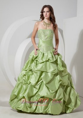 Taffeta Pick-ups Yellow Green Prom Dress with Appliques