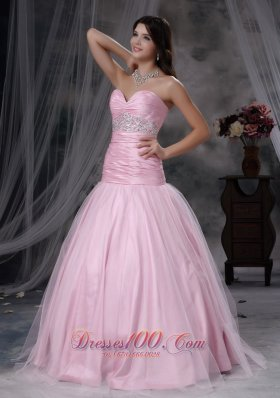 Baby Pink Ruched Tulle Tafeta Prom Dress Beaded
