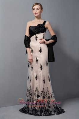 Champagne Tulle One Shoulder Mother Of The Bride Dress