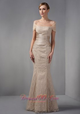 Mermaid Off The Shoulder Lace Champagne Prom Dress