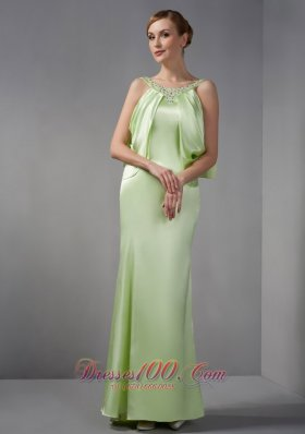 Spring Green Scoop Beading Mother Of The Brides Dress