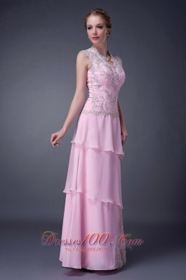 Baby Pink Layered Keyhole Back Appliques Mother Dress