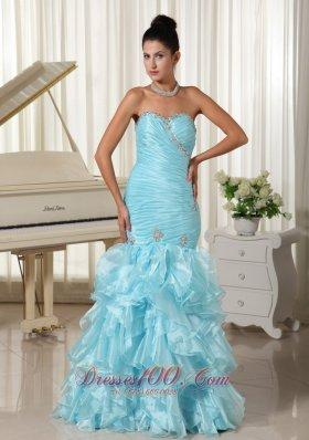 Mermaid Blue Ruched Prom Dress 2013 Layered Ruffles