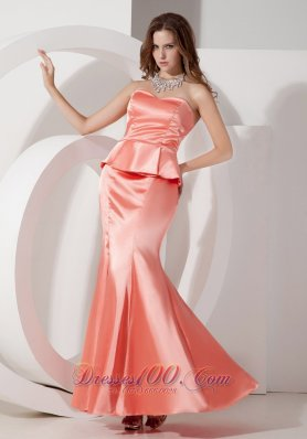 Ankle Length Two Pieces Mermaid Watermelon Evening Dress