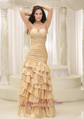 Ruffled Layers Mermaid Champagne Prom Dress Ruched