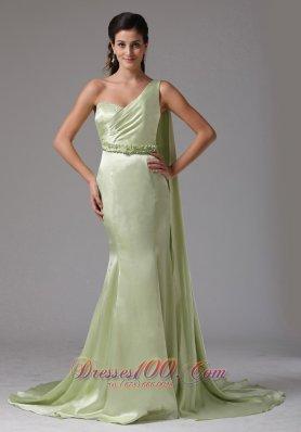 Watteau Yellow Green One Shoulder Prom Dress