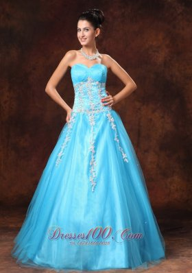 Baby Blue Applique Beads Prom Gown 2014 Sweetheart