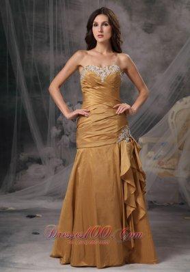 Ruffled Appliques Gold Mermaid Prom Dress Beaded