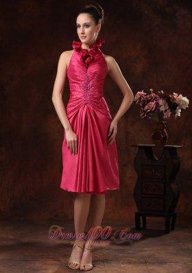 Knee Length High Neck Beaded Prom Dress Hot Pink