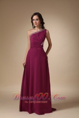 Burgundy One Shoulder Prom Evening Dress with Beads