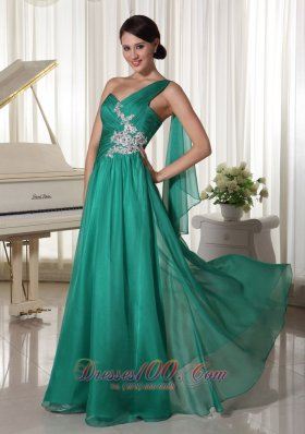 One Shoulder Turquosie Applique Prom Graduation Dress with Ribbons