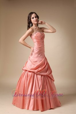 Pick-ups Watermelon Taffeta Beaded Dress For Prom Party