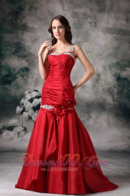 Hand Flower Mermaid Red Evening Dress Applique Straps