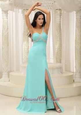 High Slit Apple Green Beaded One Shoulder Prom Dress
