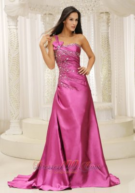 Fuchsia Brush One Shoulder Prom Evening Gown Handmade Beaded