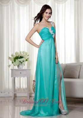 Turquoise High Slit Applique chiffon Prom Dress Ruched