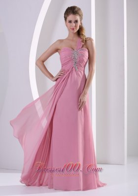 2013 Rose Pink Beadwork One Shoulder Prom Evening Dress
