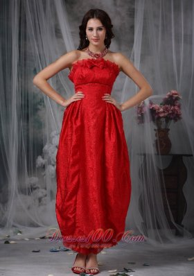 Ankle Length Red Organza Flouncing Prom Gown with Bow