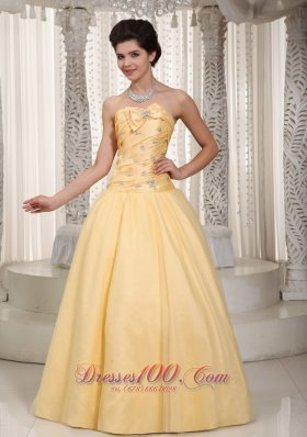Bow Decorate Beaded Yellow Prom Evening Dress 2014