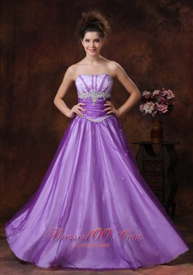 Lavender Tulle Beaded Applique Prom Dress for Girls