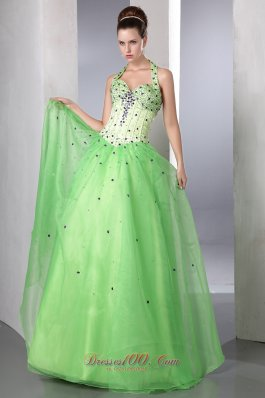 Halter Colored Beadings Spring Green Prom Dress Style