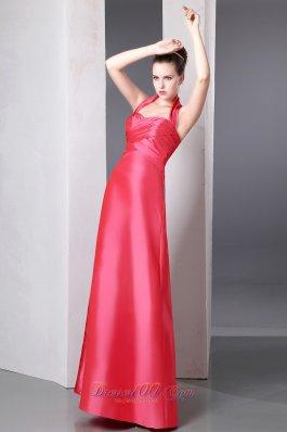 Coral Red Taffeta Ankle Length Halter Bridesmaid Dress