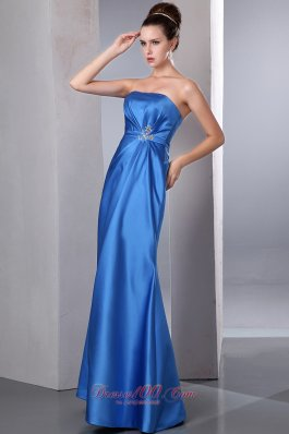 Satin Beaded Ankle-length Blue Prom Dress