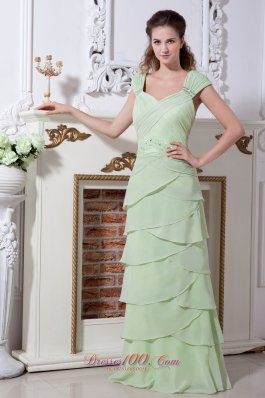 Yellow Green Layers Wide Straps Chiffon Prom Graduation Gowns