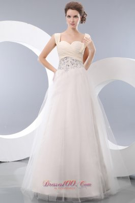 Tulle White Straps A-line Prom Evening Dress Beading