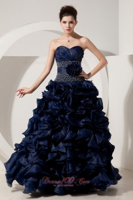 Navy Blue Organza Ruffled Beading Handmade Prom Dress
