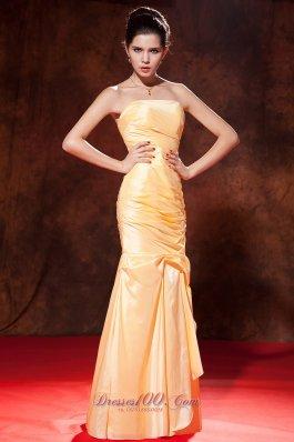 Mermaid Designers Gold Taffeta Prom Dress Ruched