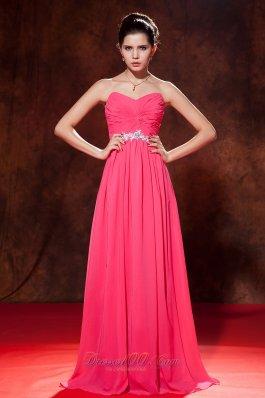 Beads Decorate Empire Chiffon Celebrity Dress