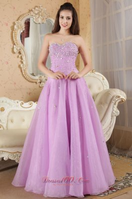 Organza Beading Lavender Sweetheart Prom Evening Dress