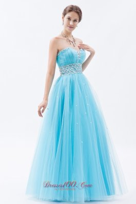 Baby Blue Beading Sweetheart Tulle Prom Gown