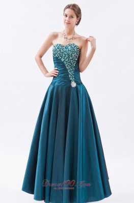 Tafeta Peacock Green Princess Prom Dress Beaded