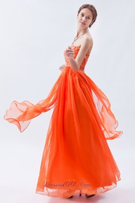 Empire Orange Red Beading Chiffon Prom Graduation Dress