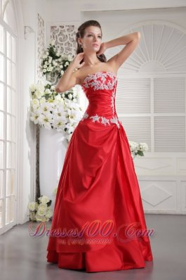 Taffeta Appliques Red Prom Evening Dress 2013