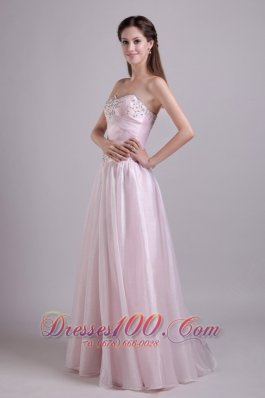 Organza Beaded Prom Homecoming Dress Baby Pink