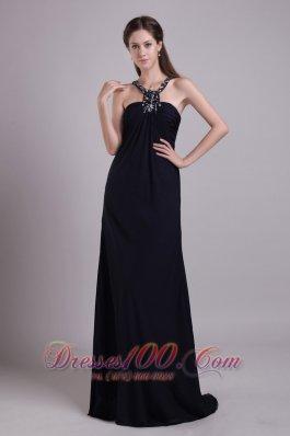 Scoop Black Empire chiffon Beaded Prom Evening Dress
