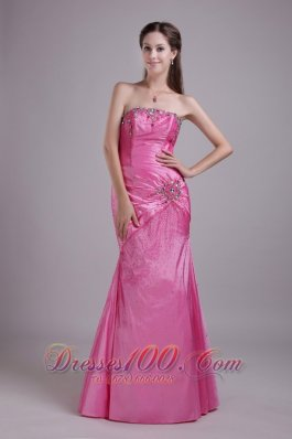 Colorful Rhinestone Taffeta Rose Pink Prom Dress 2013