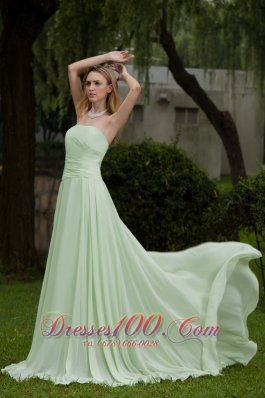 Simple Chiffon Apple Green Prom Dress for Girls