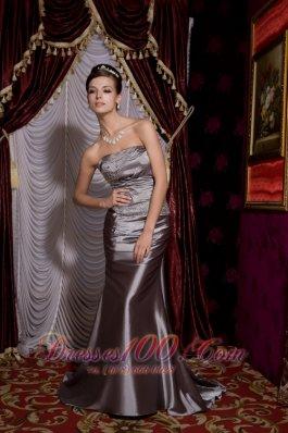 Beaded Grey Prom Evening Dress with Brush Train