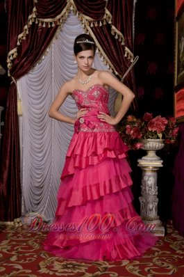 Hot Pink Beaded Brush Train Prom Evening Dress Layered